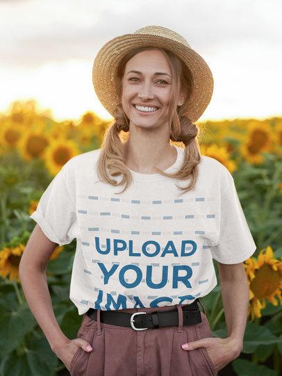T-Shirt Mockup of a Happy Woman at a Sunflower Field m1560-r-el2