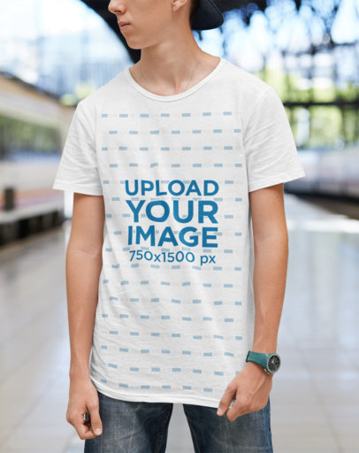 T-Shirt Design Template Featuring a Cool Young Man Posing M2559-r-el2