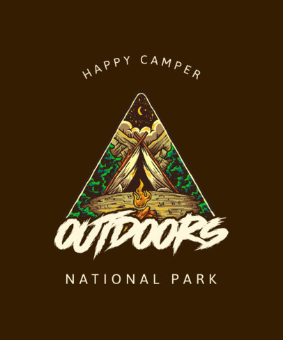 Cool T-Shirt Design Template for Camping Enthusiasts with a Tent Illustration 3620e-el1