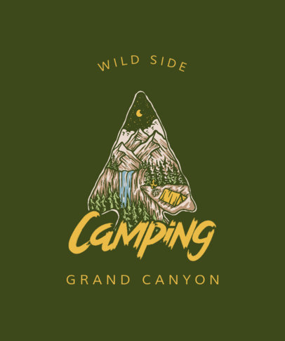 Camping-Themed T-Shirt Design Template with an Illustration of the Outdoors 3620g-el1