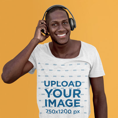 T-Shirt Mockup of a Happy Man Listening to Music with Headphones 38176-r-el2