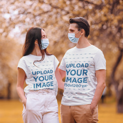 T-Shirt Mockup Featuring a Couple Wearing Face Masks M2279-r-el2