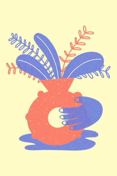 Art Print Design Generator with a Plant Pot Illustration 3459a