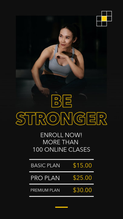 Instagram Story Design Template for an Online Fitness Coach with a Minimal Layout 3608-el1