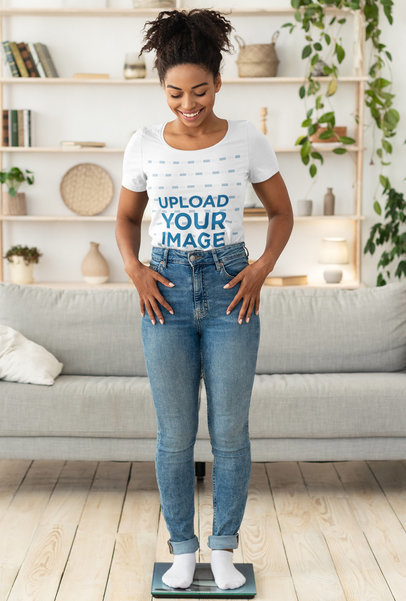 T-Shirt Mockup of a Happy Woman Checking Her Weight m2705-r-el2