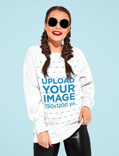 Sweatshirt Mockup of a Happy Woman With Sunglasses Posing Against a Plain Backdrop m1527-r-el2