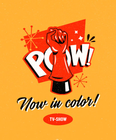 Retro T-Shirt Design Creator Featuring a Superhero Punch 3467e