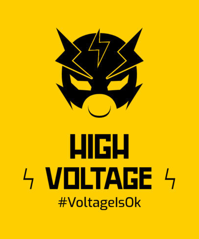 Illustrated T-Shirt Design Maker with a High Voltage Superhero Mask 3464d