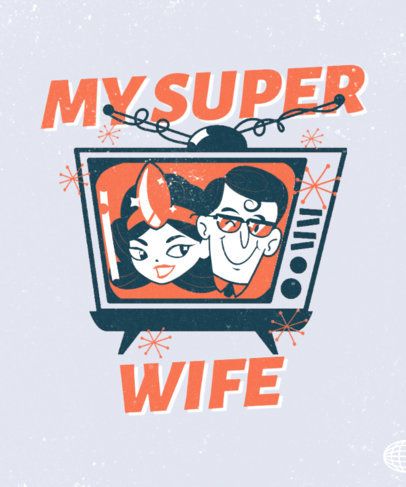 T-Shirt Design Creator Featuring a Superhero Couple in a Vintage TV 3467b