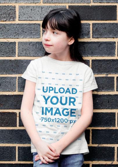 Basic T-Shirt Mockup of a Long-Haired Girl Against a Dark Brick Wall 40904-r-el2