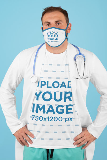 Mockup of a Doctor Wearing a T-Shirt and a Face Mask m211