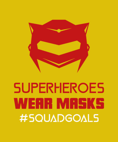 T-Shirt Design Template for a Superhero Squad with a Mask Graphic 3464e