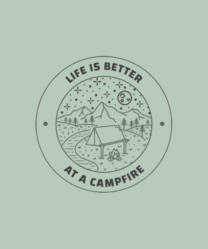 T-Shirt Design Template for Adventurous Travelers Featuring a Camping Tent Illustration 3626e-el1
