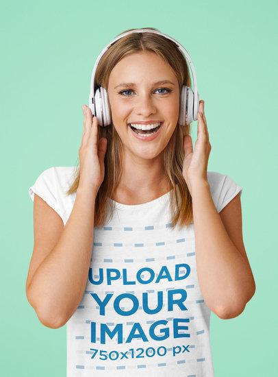 T-Shirt Mockup of a Woman Listening to Good Music at a Studio M2377-r-el2