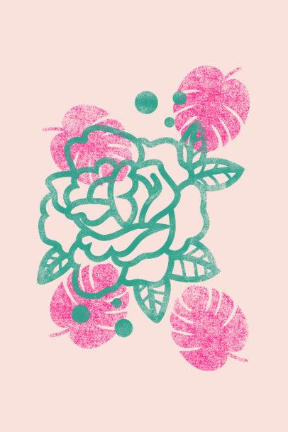 Art Print Generator Featuring a Rose Clipart 3458a