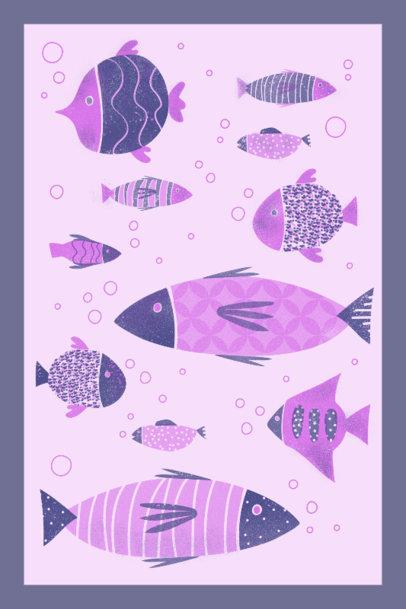 Art Print Design Template Featuring Fish Graphics 3460d
