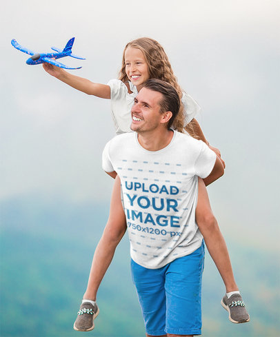 T-Shirt Mockup of a Happy Dad Carrying His Daughter on His Back m2691-r-el2