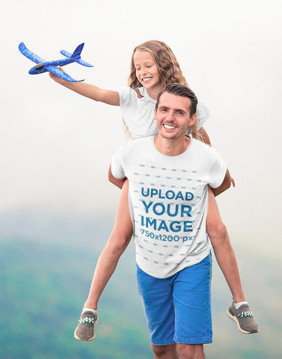 T-Shirt Mockup Featuring a Man Playing With His Daughter Outdoors M2689-r-el2