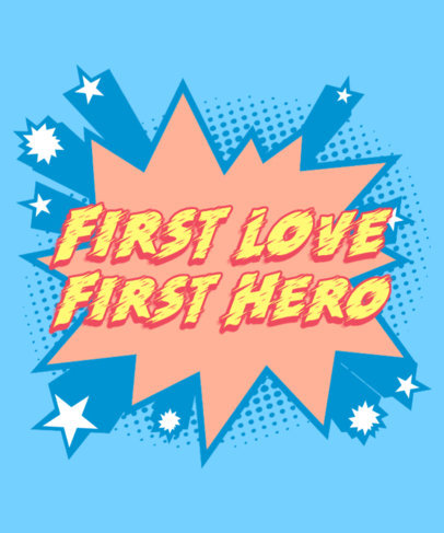 Superhero Comic Book-Inspired T-Shirt Design Maker with a Romantic Quote 3461h