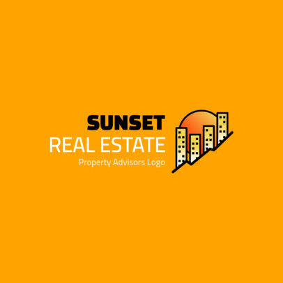 Real Estate Logo Maker Featuring a Minimal Graphic of Buildings 4108a