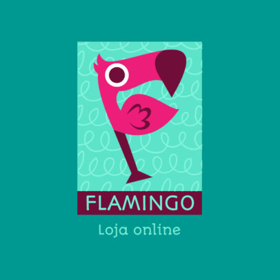 Cute Logo Maker for an Online Shop Featuring a Flamingo Illustration 4123e