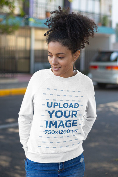 Sweatshirt Mockup of a Curly-Haired Woman Posing on the Street 23974a
