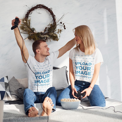 T-Shirt Mockup of a Happy Couple Playing Video Games at Home m2307-r-el2