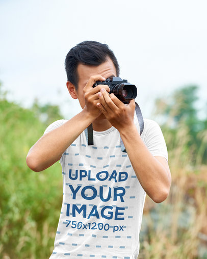 T-Shirt Mockup Featuring a Photographer Working in Nature 45129-r-el2