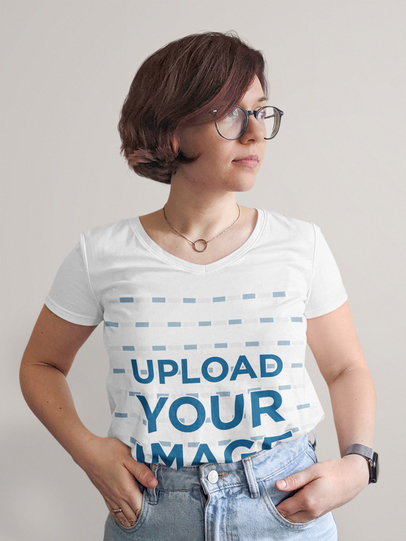 T-Shirt Mockup of a Short-Haired Woman with Glasses m1603-r-el2