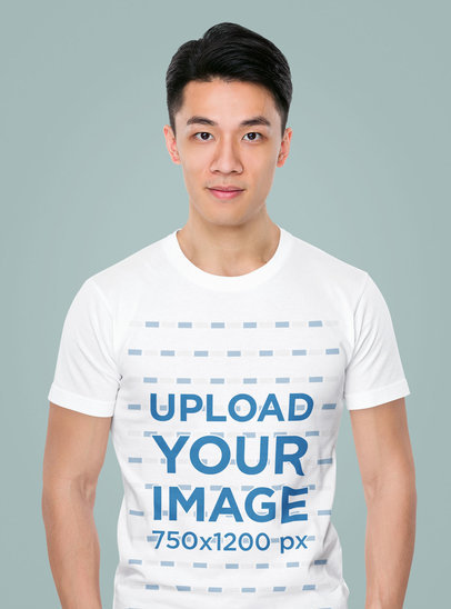 T-Shirt Mockup of a Serious Man Against a Colored Backdrop m2534-r-el2
