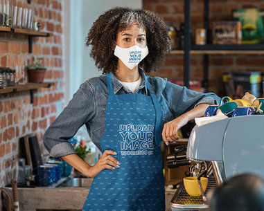 Mockup of a Barista Wearing an Apron and a Face Mask m2867-r-el2