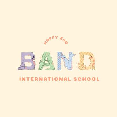 International School Logo Creator with Illustrated Zoo Animal Letters 4117b