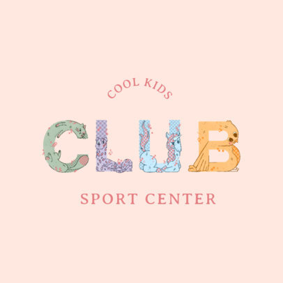 Logo Template for a Kids Sports Club with Illustrated Animal Letters 4117d