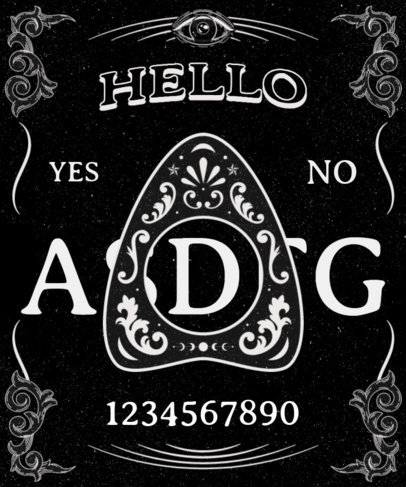 T-Shirt Design Template Featuring a Ouija Aesthetic 3475