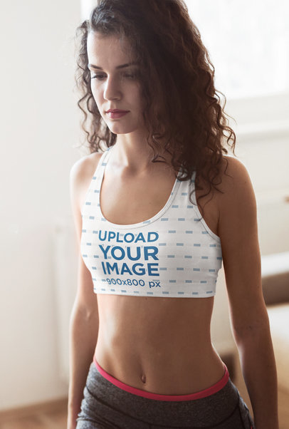 Sports Bra Mockup of a Curly-Haired Woman Exercising at Home m2744-r-el2
