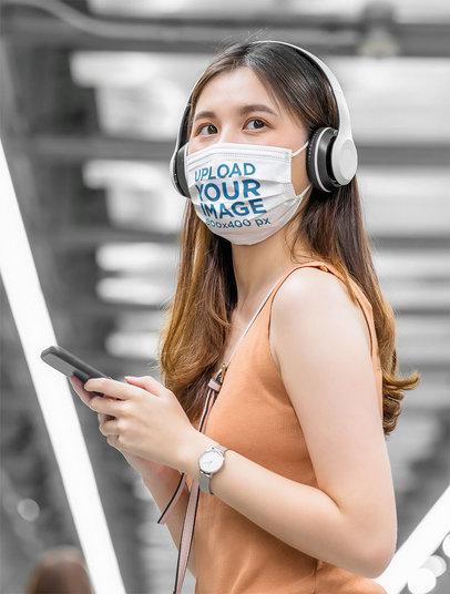 Face Mask Mockup of a Young Woman Waiting at a Subway Station m1817-r-el2