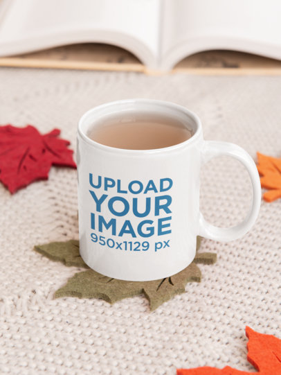11 oz Coffee Mug Mockup Featuring Leaf-Shaped Coasters 33618a