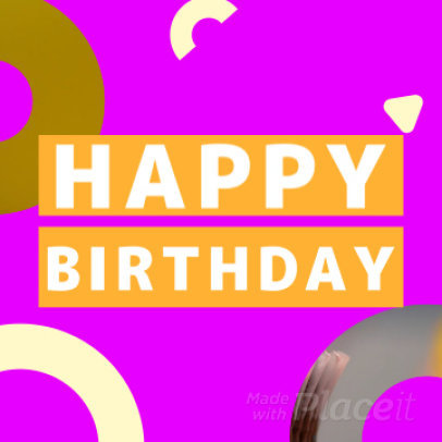 Instagram Post Video Maker with Colorful Animated Graphics for a B-Day Message 880a 2941