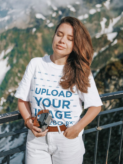 T-Shirt Mockup Featuring a Woman and Mountains in the Background m1609-r-el2