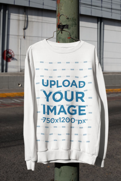 Mockup of a Sweatshirt Hanged on an Urban Lamppost M458