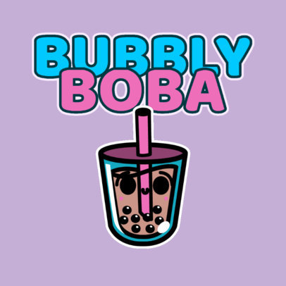 Online Logo Maker for a Junior Clothing Brand with a Smiling Bubble Tea 4146d