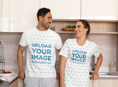 T-Shirt and Night Dress Mockup of a Couple in Pajamas at Home M772