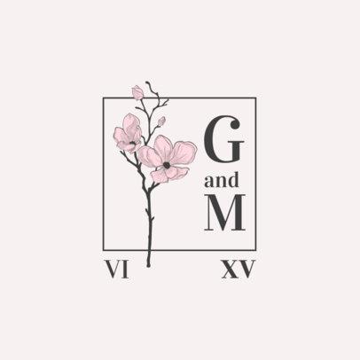 Wedding Monogram Logo Maker Featuring a Blossom Plant 3654c-el1