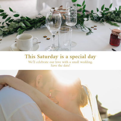 Instagram Post Design Template to Share a Wedding Announcement 3642-el1