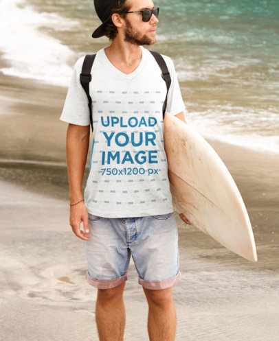V-Neck T-Shirt Mockup Featuring a Surfer With Sunglasses at the Beach m2809r-el2