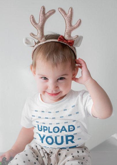 T-Shirt Mockup of a Little Kid Wearing Reindeer Antlers m1762-r-el2
