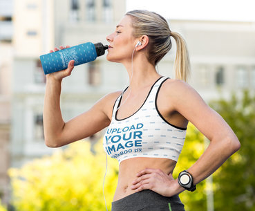 Sports Bra Mockup of an Athlete Drinking Water After a Run m2600-r-el2