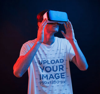 T-Shirt Mockup of a Man Immerse in a VR Game m1441-r-el2
