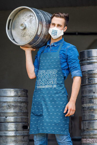 Apron Mockup of a Man With a Face Mask Carrying a Beer Keg m2860-r-el2