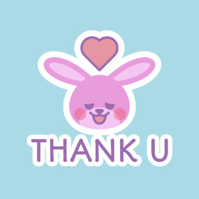 Lovely Twitch Emote Logo Template with a Bunny Graphic 4142b